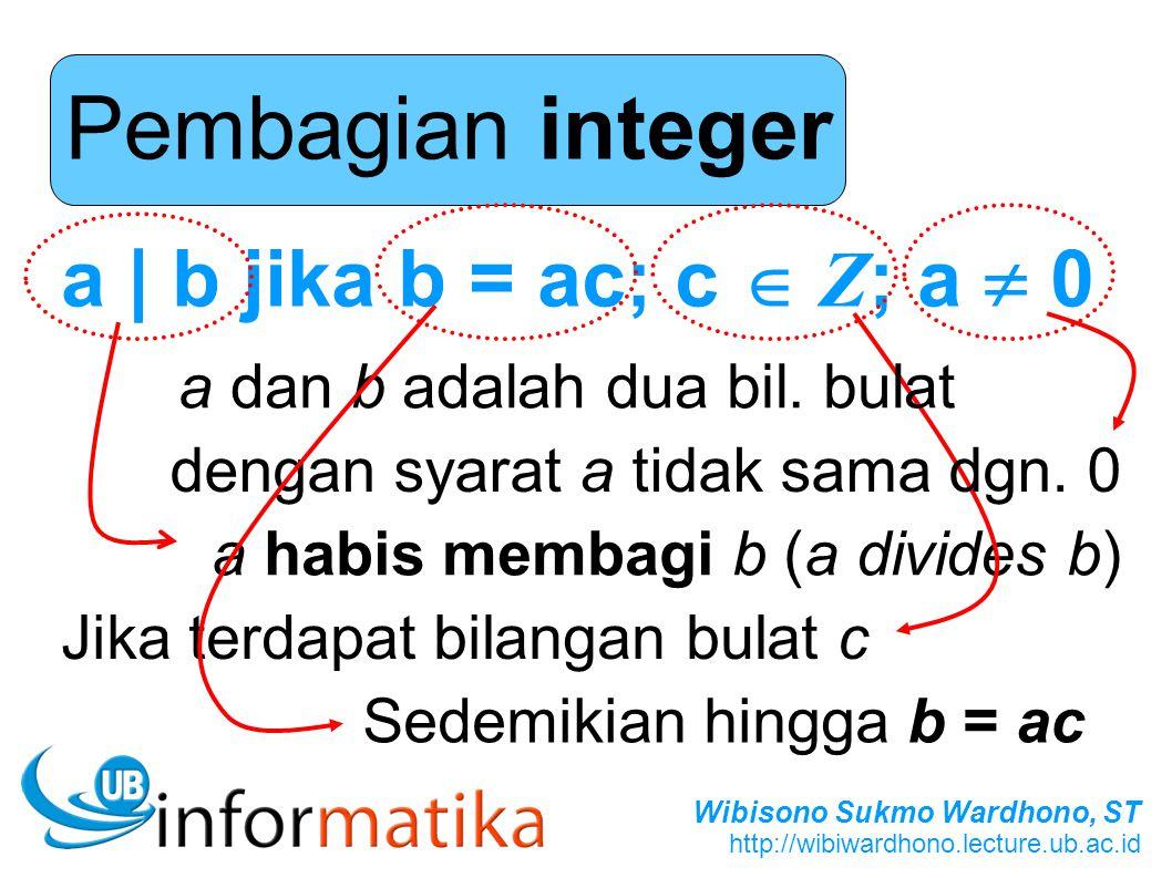 Wibisono Sukmo Wardhono, ST http://wibiwardhono.lecture.ub.ac.id Pembagian integer a | b jika b = ac; c  Z ; a  0 a habis membagi b (a divides b) Ji