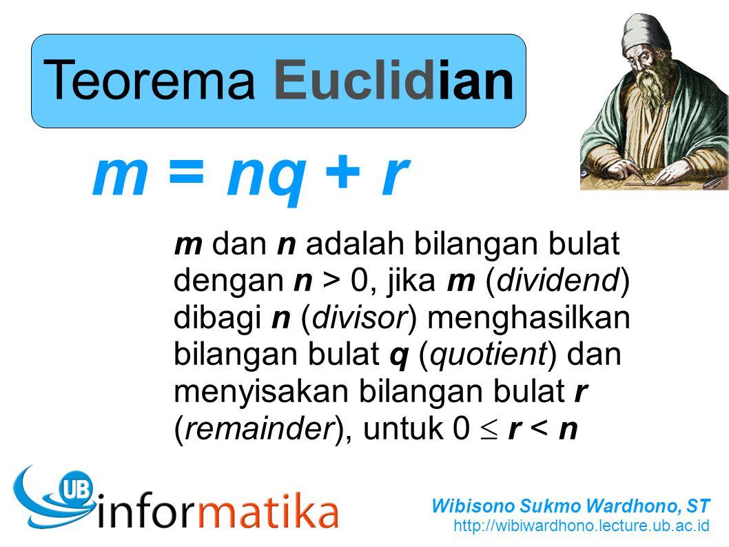 Wibisono Sukmo Wardhono, ST http://wibiwardhono.lecture.ub.ac.id Teorema Euclidian m = nq + r m dan n adalah bilangan bulat dengan n > 0, jika m (divi