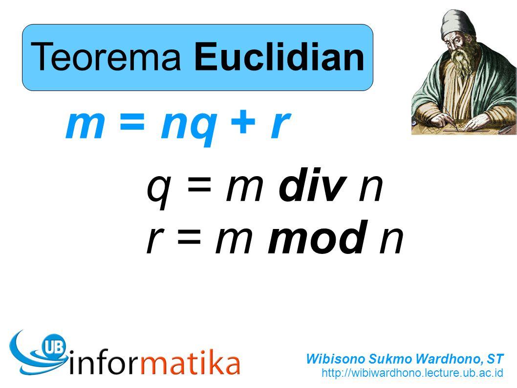 Wibisono Sukmo Wardhono, ST http://wibiwardhono.lecture.ub.ac.id Teorema Euclidian m = nq + r q = m div n r = m mod n