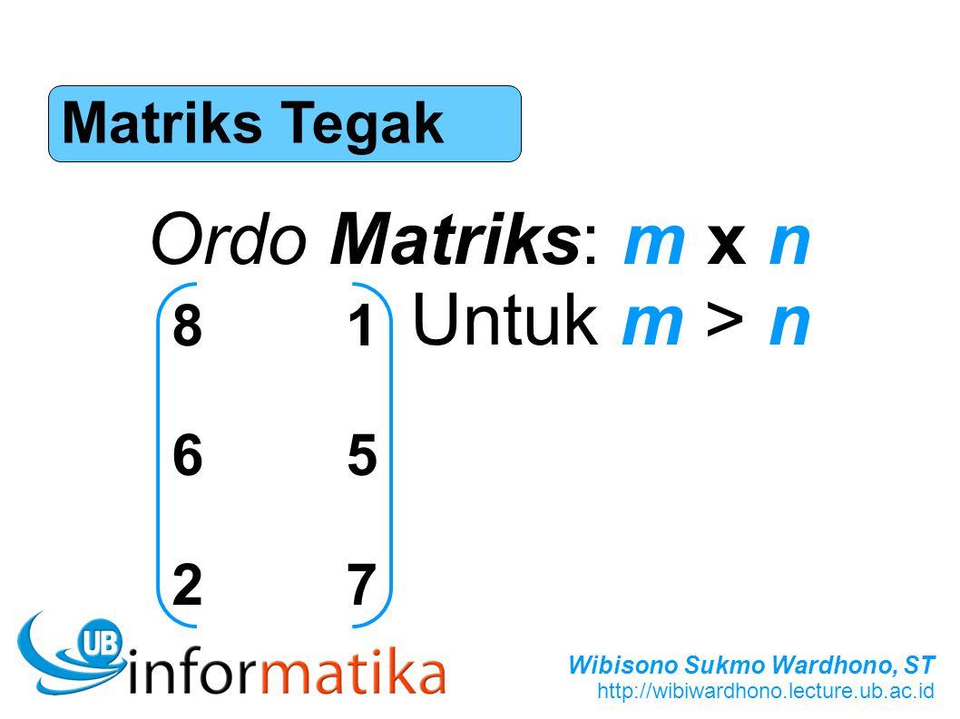 Wibisono Sukmo Wardhono, ST http://wibiwardhono.lecture.ub.ac.id Matriks Tegak Ordo Matriks: m x n Untuk m > n 816527816527