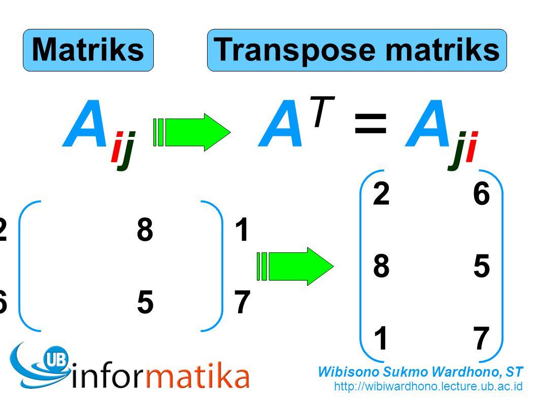Wibisono Sukmo Wardhono, ST http://wibiwardhono.lecture.ub.ac.id Matriks AijAij Transpose matriks A T = A ji 281657281657 268517268517