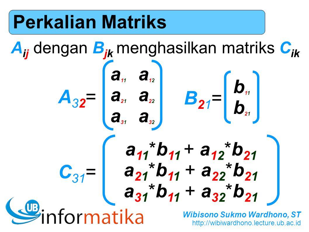 Wibisono Sukmo Wardhono, ST http://wibiwardhono.lecture.ub.ac.id Perkalian Matriks A32=A32= a11a12a21a22a31a32a11a12a21a22a31a32 B21=B21= b11b21b11b21