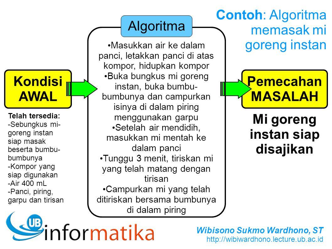 Wibisono Sukmo Wardhono, ST http://wibiwardhono.lecture.ub.ac.id Pemecahan MASALAH Masukkan air ke dalam panci, letakkan panci di atas kompor, hidupka