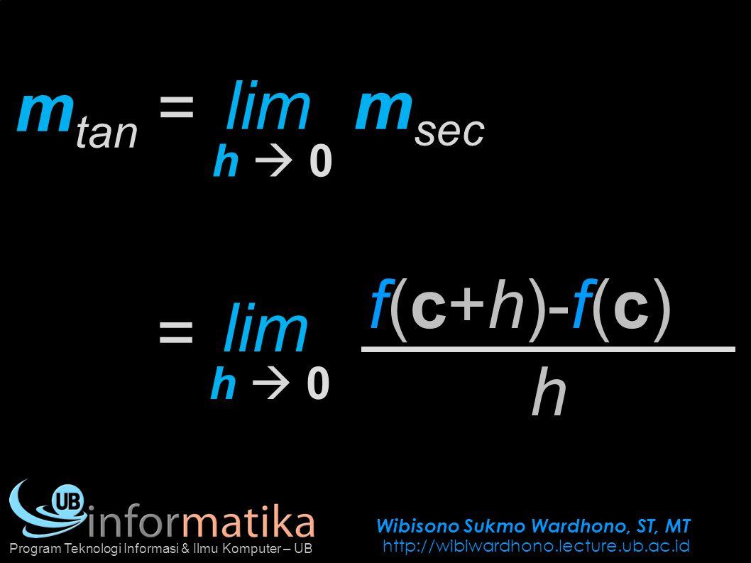 Wibisono Sukmo Wardhono, ST, MT http://wibiwardhono.lecture.ub.ac.id Program Teknologi Informasi & Ilmu Komputer – UB f(c+h)-f(c) m tan = h lim h  0h