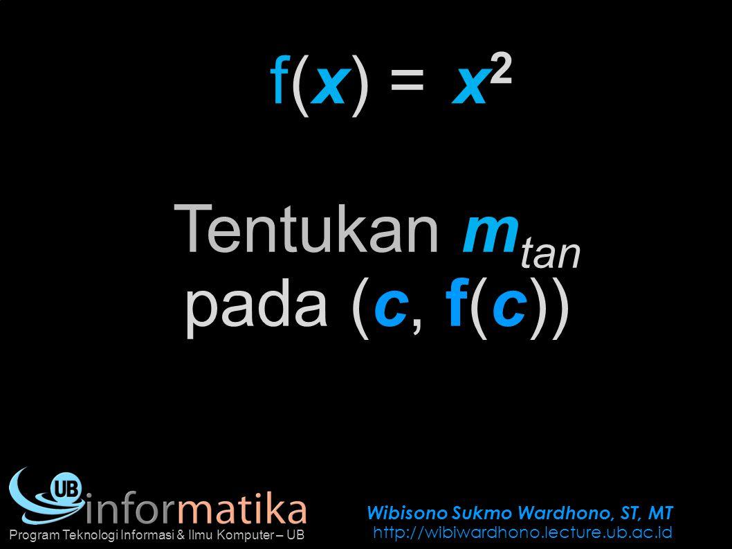 Wibisono Sukmo Wardhono, ST, MT http://wibiwardhono.lecture.ub.ac.id Program Teknologi Informasi & Ilmu Komputer – UB f(x) =x2x2 Tentukan m tan pada (