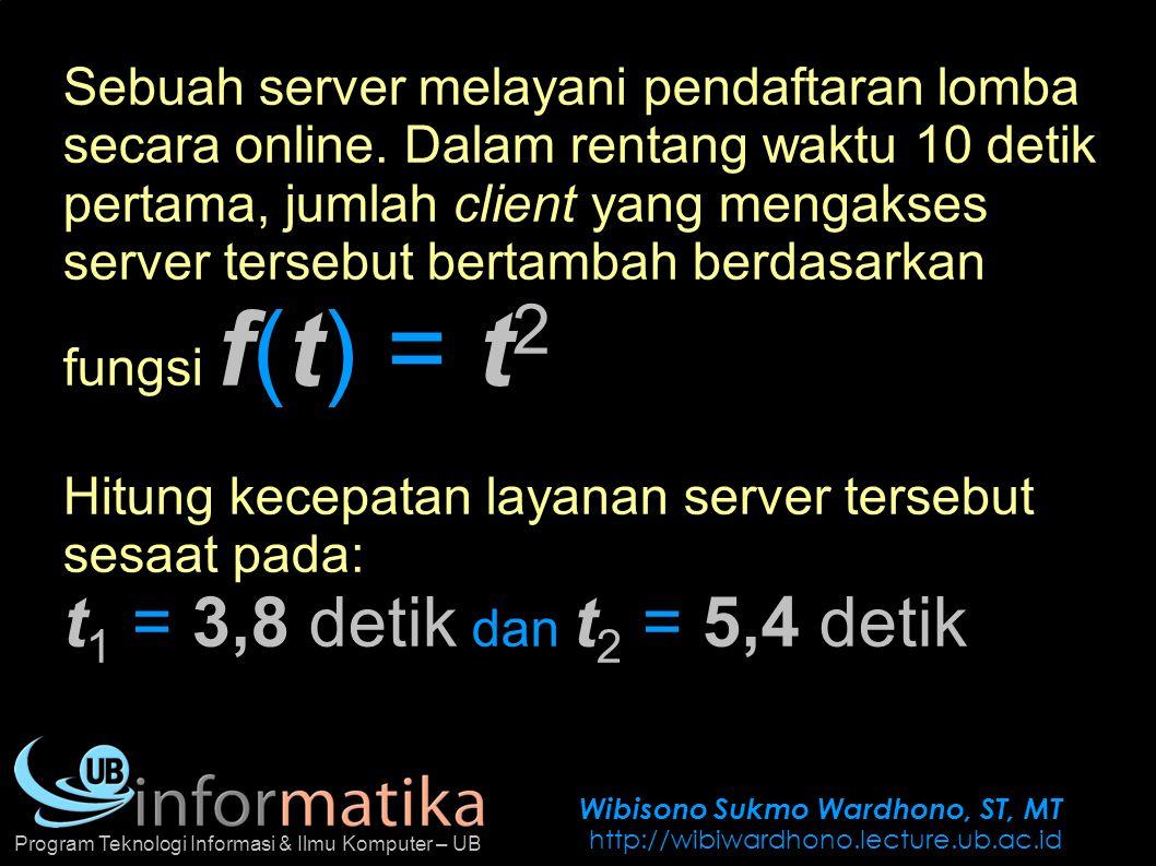 Wibisono Sukmo Wardhono, ST, MT http://wibiwardhono.lecture.ub.ac.id Program Teknologi Informasi & Ilmu Komputer – UB Sebuah server melayani pendaftar