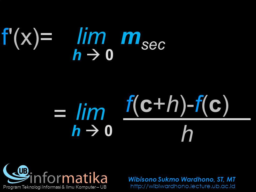 Wibisono Sukmo Wardhono, ST, MT http://wibiwardhono.lecture.ub.ac.id Program Teknologi Informasi & Ilmu Komputer – UB f(c+h)-f(c) f'(x)= h lim h  0h