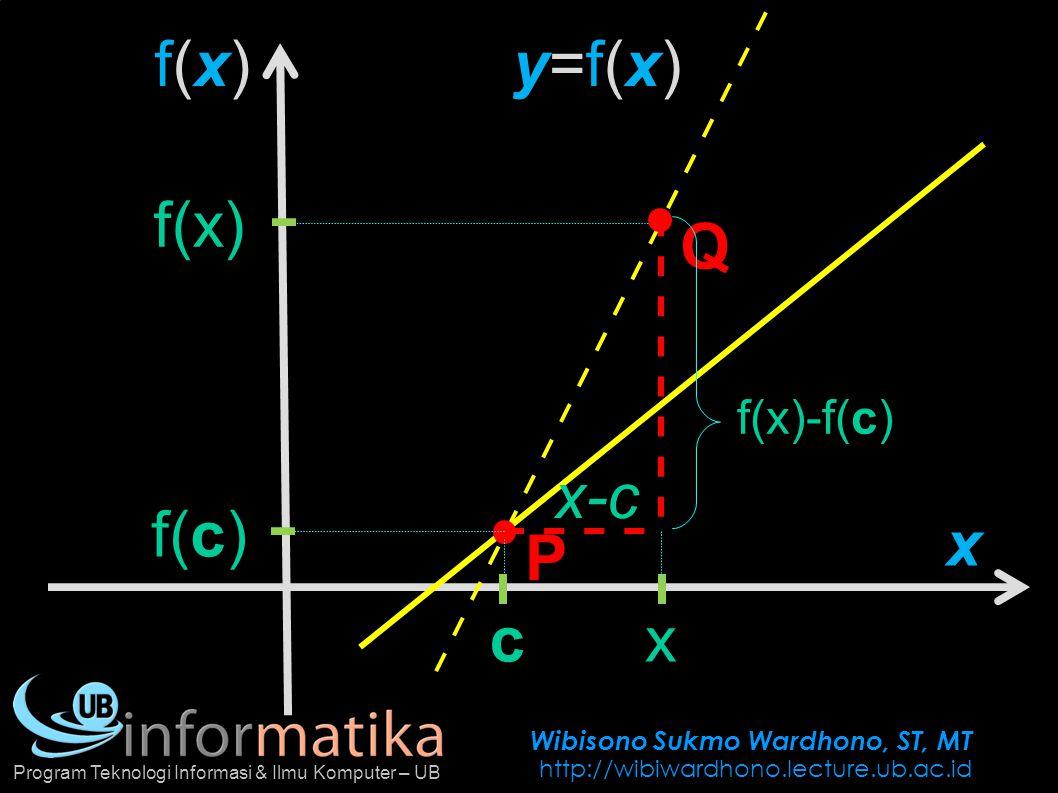 Wibisono Sukmo Wardhono, ST, MT http://wibiwardhono.lecture.ub.ac.id Program Teknologi Informasi & Ilmu Komputer – UB f(x)f(x) x P Q y=f(x)y=f(x) c x-