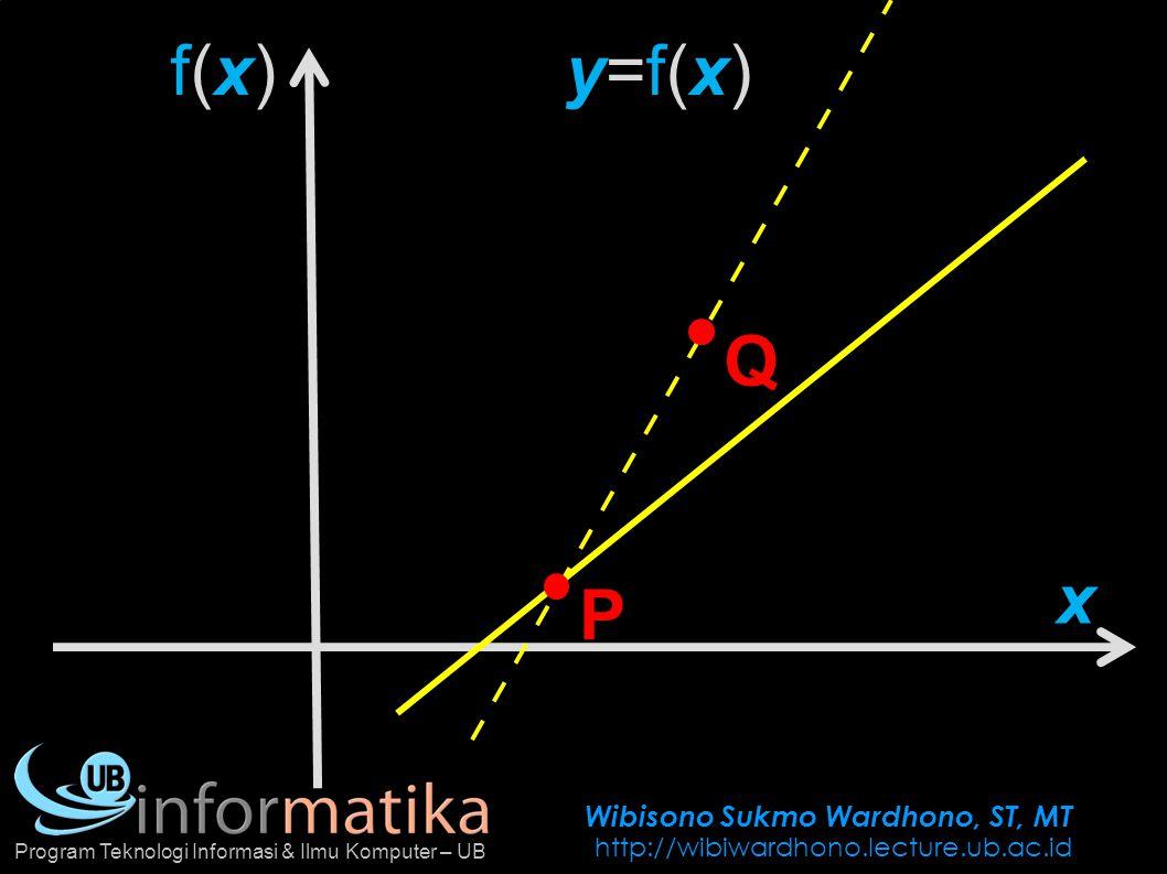 Wibisono Sukmo Wardhono, ST, MT http://wibiwardhono.lecture.ub.ac.id Program Teknologi Informasi & Ilmu Komputer – UB f(x)f(x) x P Q y=f(x)y=f(x) c x-c x f(c) f(x) f(x)-f(c)