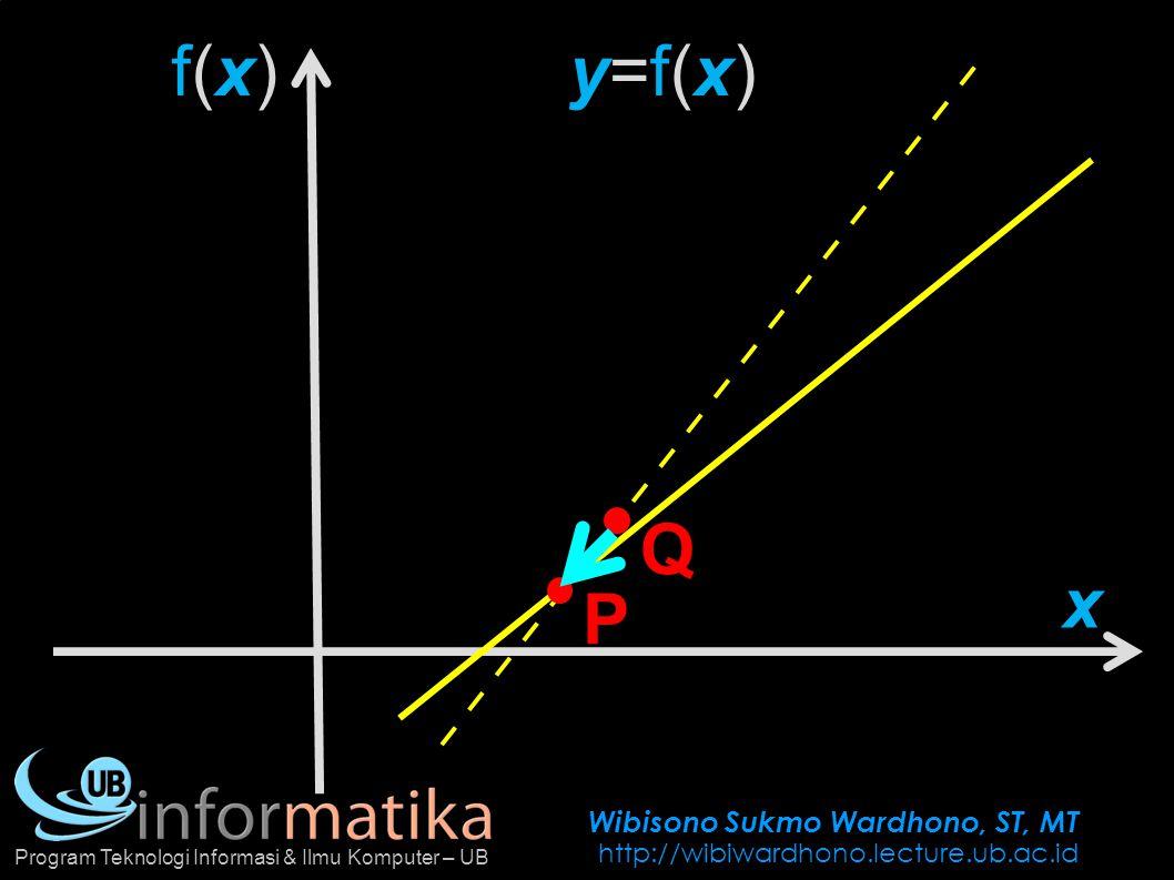 Wibisono Sukmo Wardhono, ST, MT http://wibiwardhono.lecture.ub.ac.id Program Teknologi Informasi & Ilmu Komputer – UB f(x) =2x 4 +4x 3 +3x Tentukan m tan pada (c, f(c))