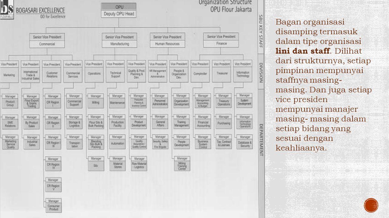Bagan organisasi disamping termasuk dalam tipe organisasi lini dan staff.