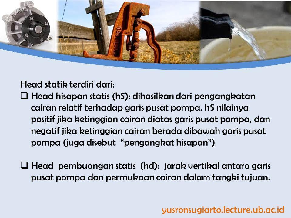 yusronsugiarto.lecture.ub.ac.id Head statik terdiri dari:  Head hisapan statis (hS): dihasilkan dari pengangkatan cairan relatif terhadap garis pusat pompa.