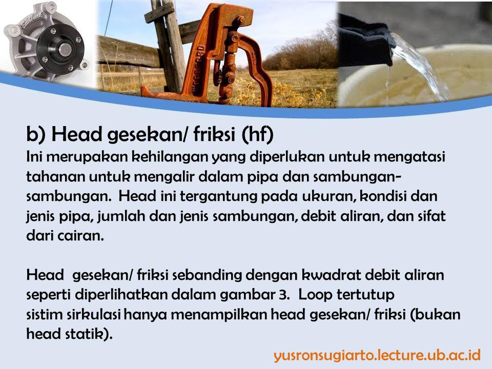 yusronsugiarto.lecture.ub.ac.id b) Head gesekan/ friksi (hf) Ini merupakan kehilangan yang diperlukan untuk mengatasi tahanan untuk mengalir dalam pipa dan sambungan- sambungan.