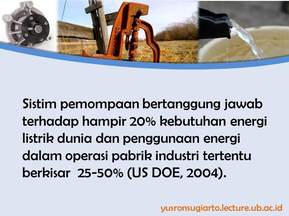 yusronsugiarto.lecture.ub.ac.id Sistim pemompaan bertanggung jawab terhadap hampir 20% kebutuhan energi listrik dunia dan penggunaan energi dalam operasi pabrik industri tertentu berkisar 25-50% (US DOE, 2004).