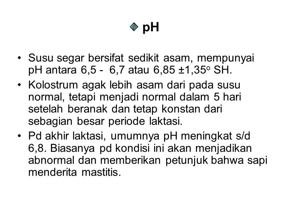 pH Susu segar bersifat sedikit asam, mempunyai pH antara 6,5 - 6,7 atau 6,85 ±1,35 o SH. Kolostrum agak lebih asam dari pada susu normal, tetapi menja