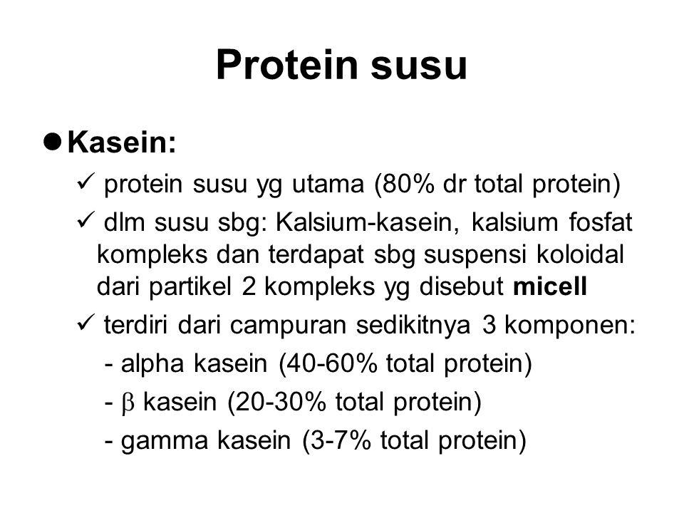Protein susu Kasein: protein susu yg utama (80% dr total protein) dlm susu sbg: Kalsium-kasein, kalsium fosfat kompleks dan terdapat sbg suspensi kolo