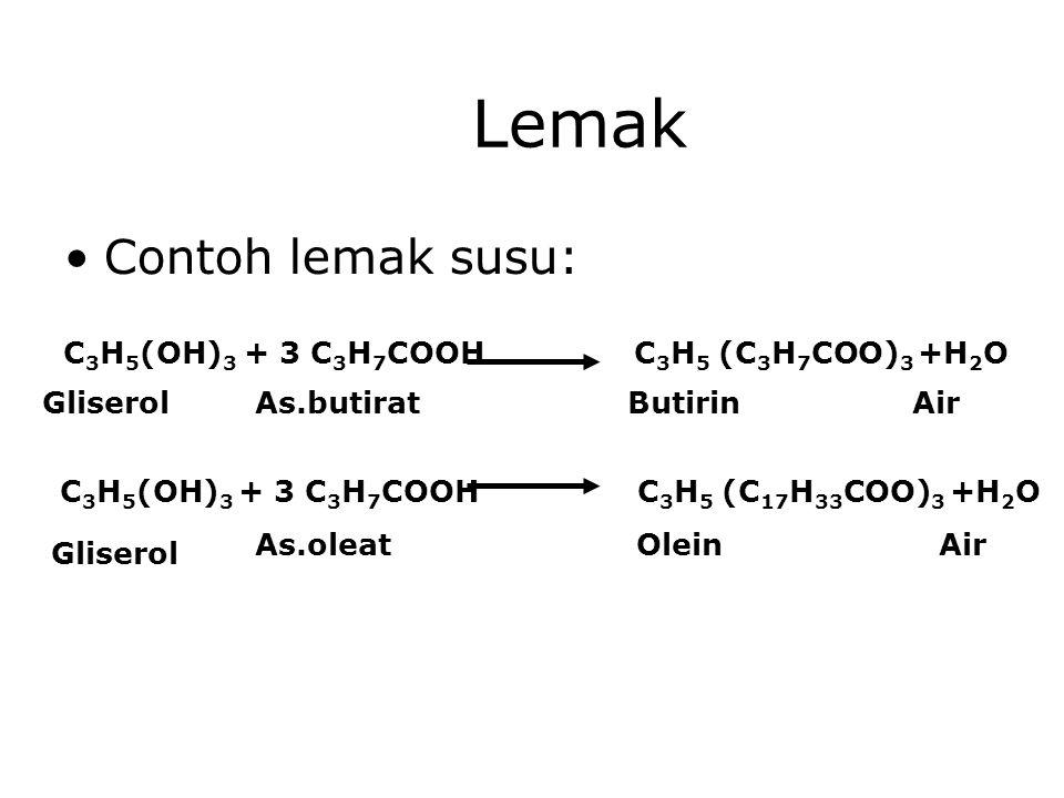 Lemak Contoh lemak susu: C 3 H 5 (OH) 3 + 3 C 3 H 7 COOH C 3 H 5 (C 3 H 7 COO) 3 +H 2 O Gliserol C 3 H 5 (OH) 3 + 3 C 3 H 7 COOH As.butiratButirin Air