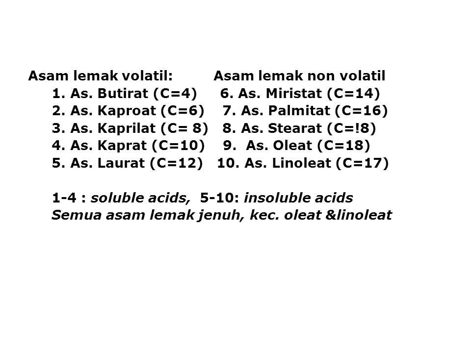 Asam lemak volatil: Asam lemak non volatil 1. As. Butirat (C=4) 6. As. Miristat (C=14) 2. As. Kaproat (C=6) 7. As. Palmitat (C=16) 3. As. Kaprilat (C=