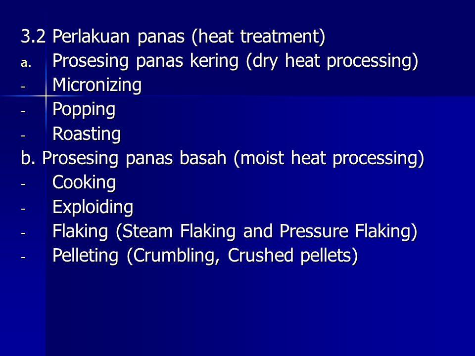 3.2 Perlakuan panas (heat treatment) a. Prosesing panas kering (dry heat processing) - Micronizing - Popping - Roasting b. Prosesing panas basah (mois