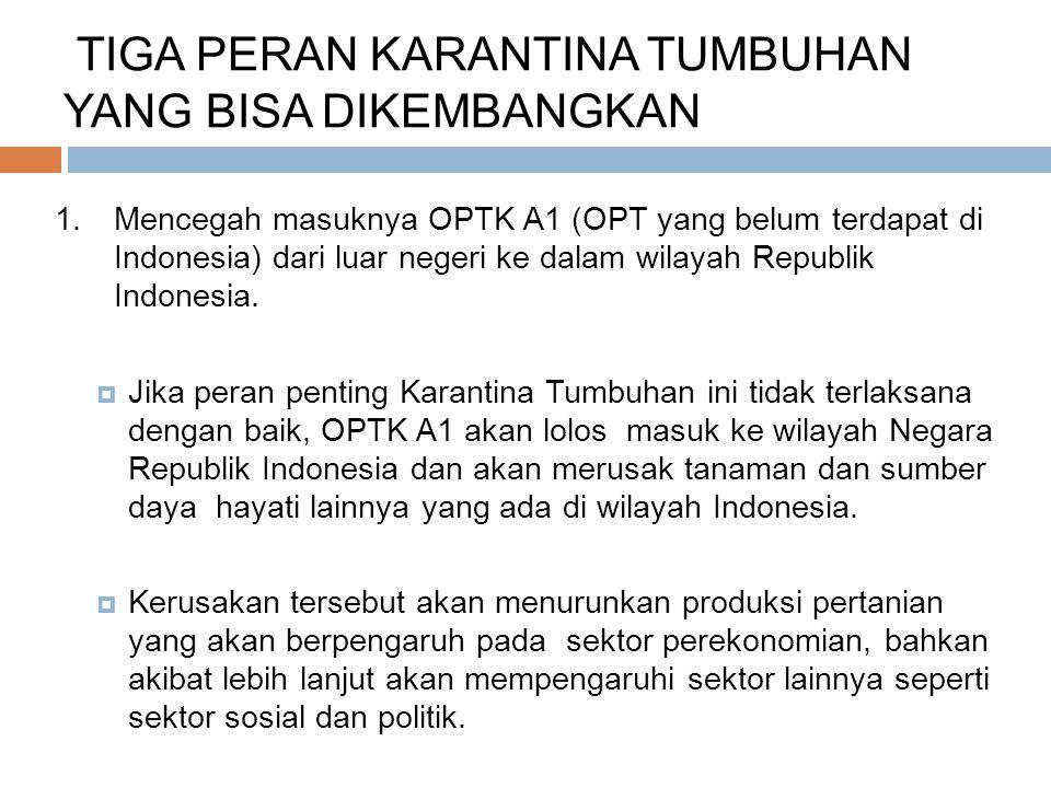 TIGA PERAN KARANTINA TUMBUHAN YANG BISA DIKEMBANGKAN 1.Mencegah masuknya OPTK A1 (OPT yang belum terdapat di Indonesia) dari luar negeri ke dalam wila