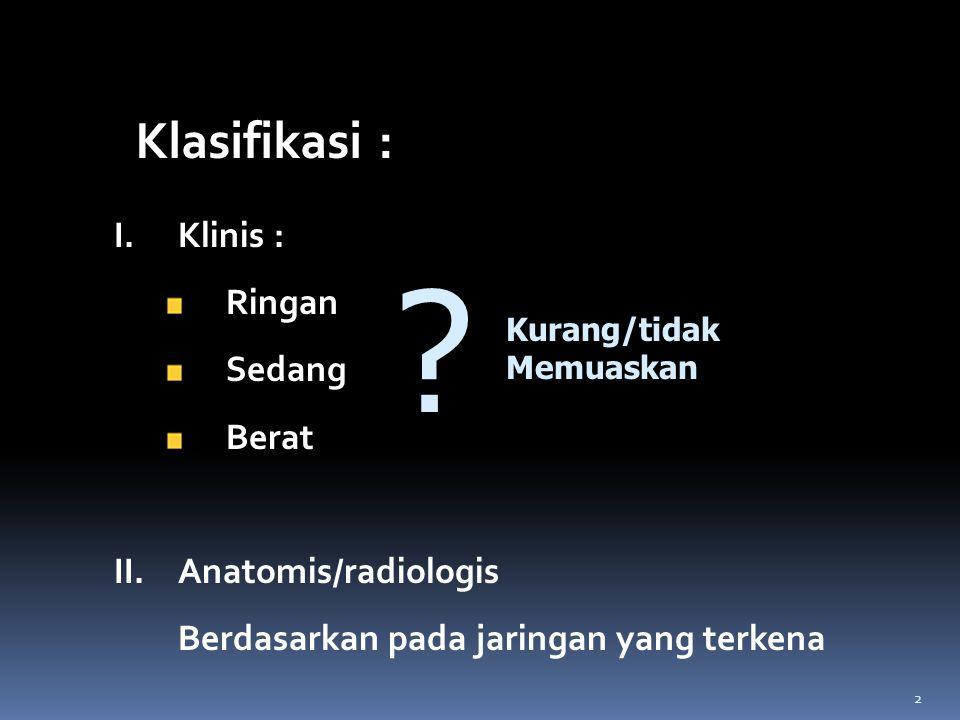 I.Klinis : Ringan Sedang Berat II.Anatomis/radiologis Berdasarkan pada jaringan yang terkena Kurang/tidak Memuaskan ? Klasifikasi : 2