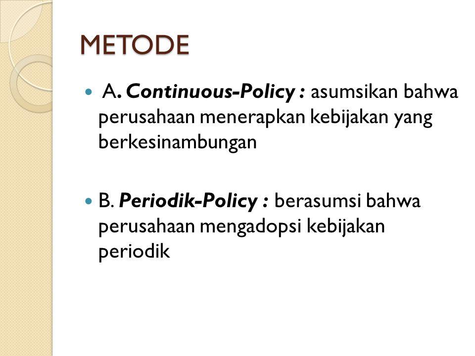 METODE A. Continuous-Policy : asumsikan bahwa perusahaan menerapkan kebijakan yang berkesinambungan B. Periodik-Policy : berasumsi bahwa perusahaan me