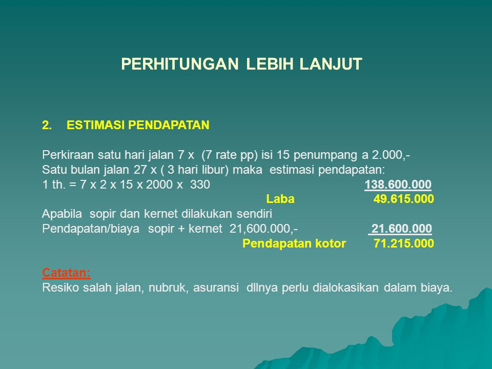 1.ESTIMASI BIAYA Biaya Investasi Harga kendaraan + trayek Rp.