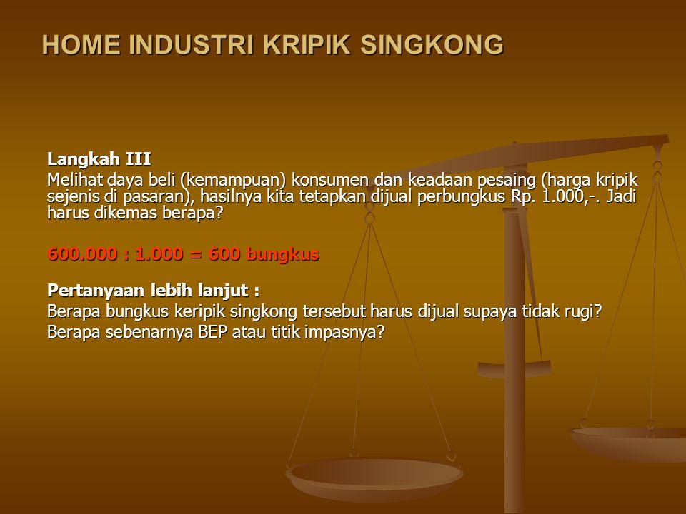 HOME INDUSTRI KRIPIK SINGKONG Home industri Kripik Singkong ini memakai modal sendiri dengan menggunakan peralatan dapur dan rumah (tempat kerja) yang dimiliki sendiri.