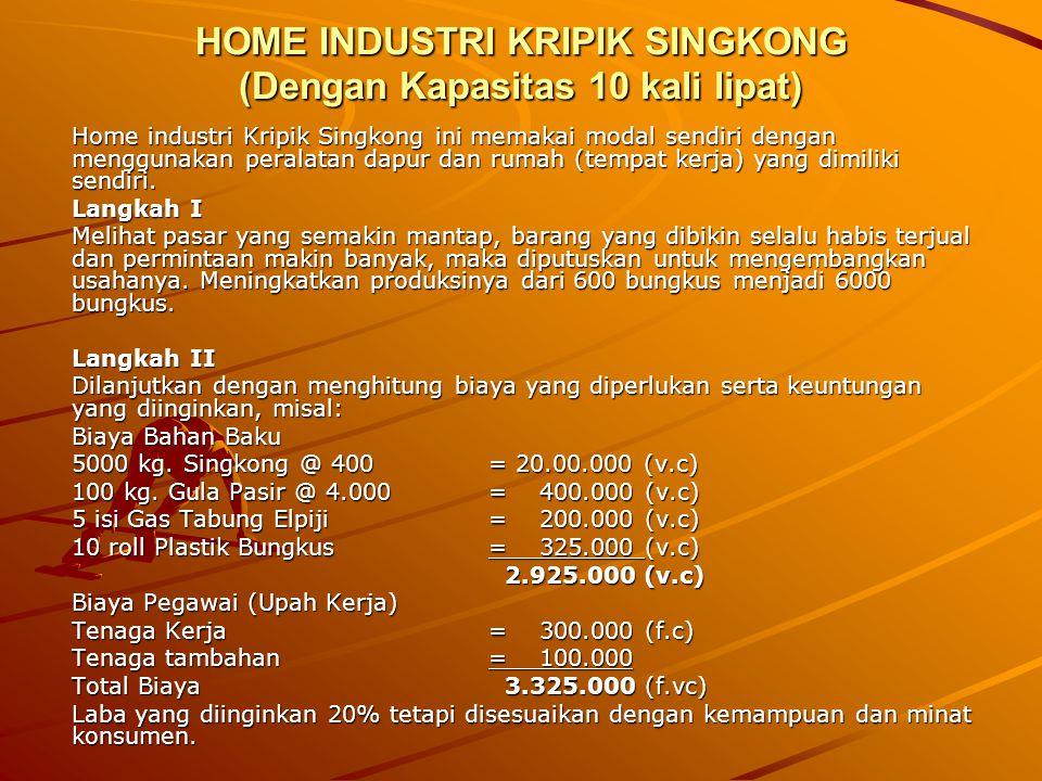 HOME INDUSTRI KRIPIK SINGKONG CATATAN Apabila kita cocokkan angka hitungnya akan nampak sebagai berikut: Penjualan (BEP) Rp.