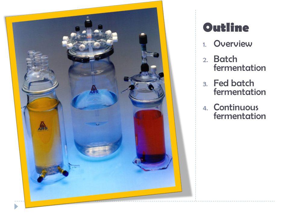 Outline 1.Overview 2. Batch fermentation 3. Fed Batch culture 4.
