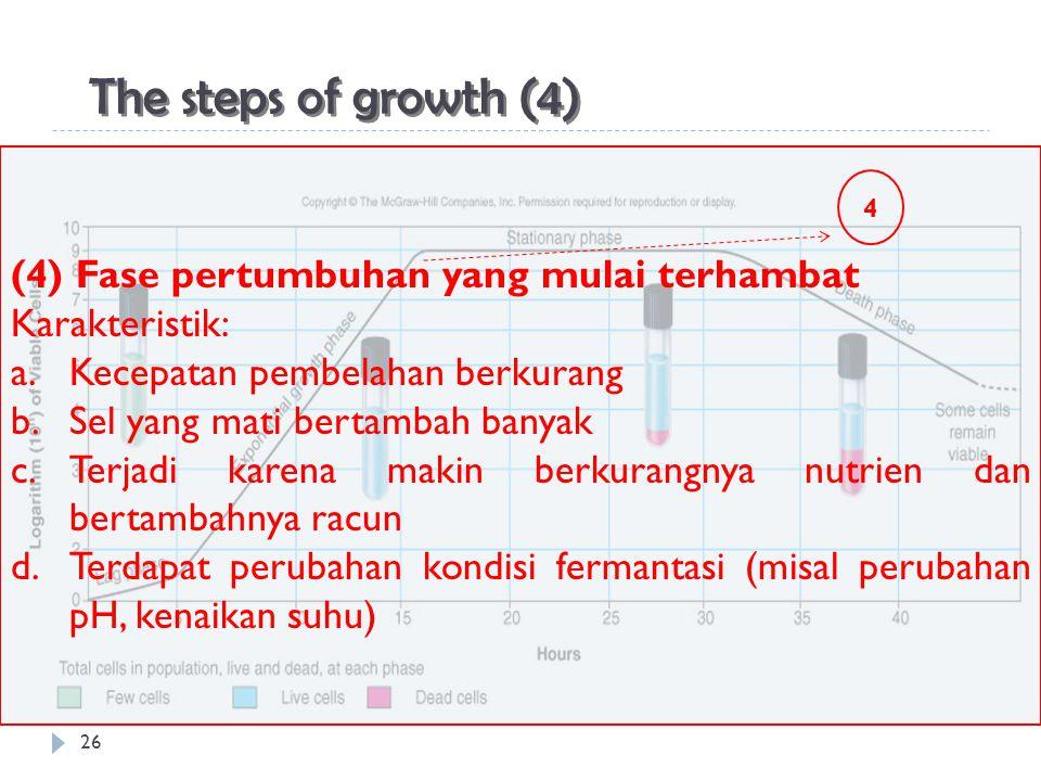 26 The steps of growth (4) (4) Fase pertumbuhan yang mulai terhambat Karakteristik: a.Kecepatan pembelahan berkurang b.Sel yang mati bertambah banyak