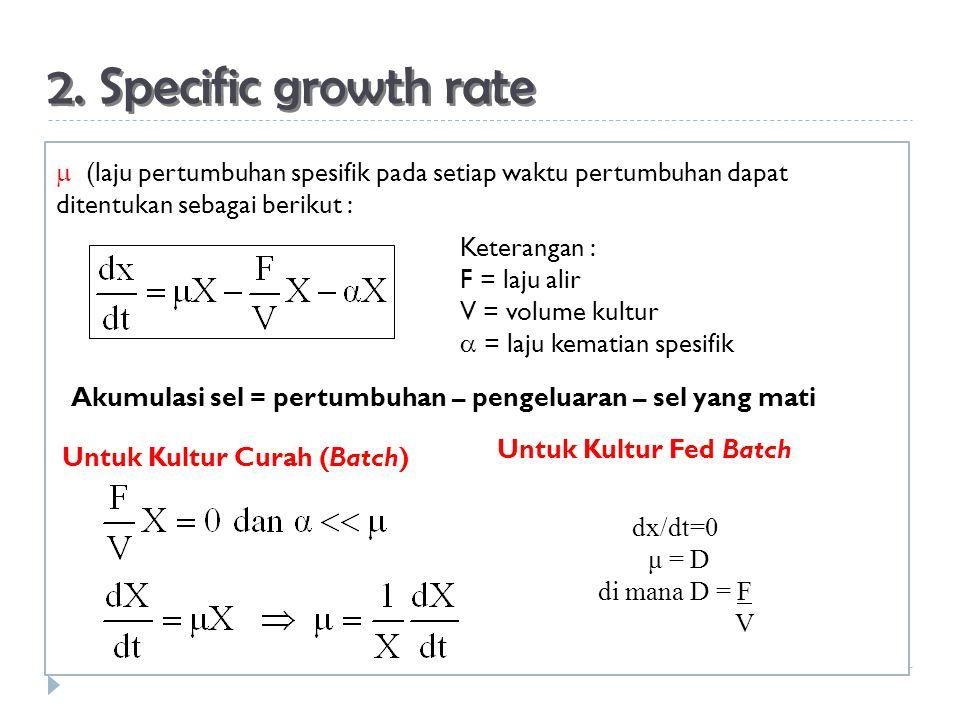 2. Specific growth rate  (laju pertumbuhan spesifik pada setiap waktu pertumbuhan dapat ditentukan sebagai berikut : Akumulasi sel = pertumbuhan – pe