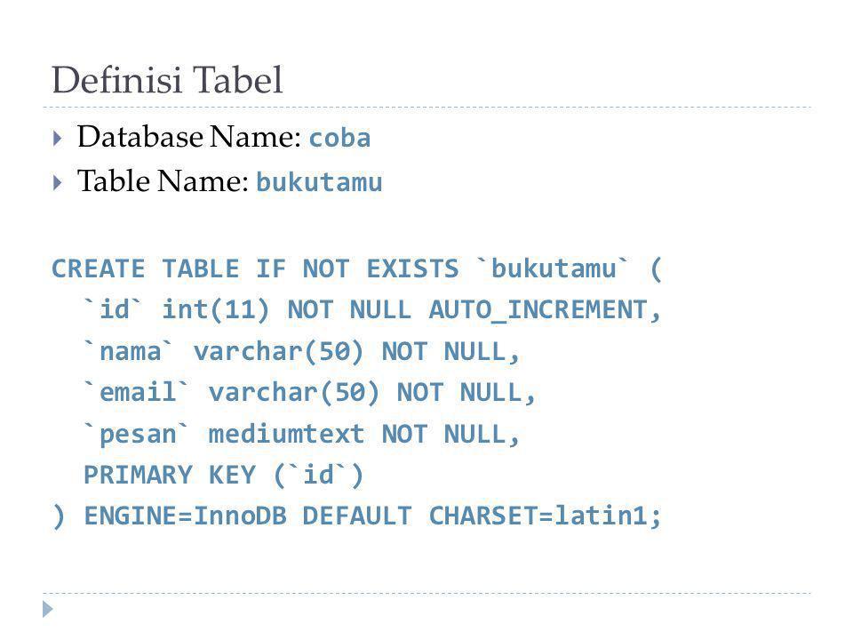 Definisi Tabel  Database Name: coba  Table Name: bukutamu CREATE TABLE IF NOT EXISTS `bukutamu` ( `id` int(11) NOT NULL AUTO_INCREMENT, `nama` varchar(50) NOT NULL, `email` varchar(50) NOT NULL, `pesan` mediumtext NOT NULL, PRIMARY KEY (`id`) ) ENGINE=InnoDB DEFAULT CHARSET=latin1;