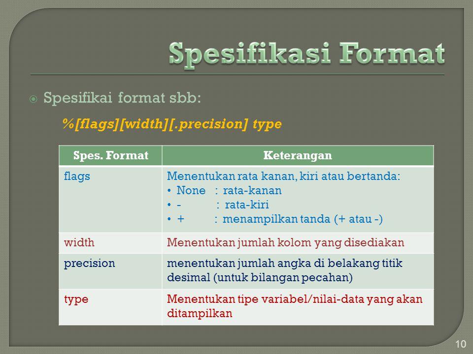  Spesifikai format sbb: %[flags][width][.precision] type 10 Spes. FormatKeterangan flagsMenentukan rata kanan, kiri atau bertanda: None : rata-kanan