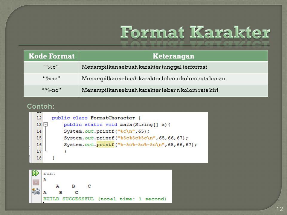"12 Kode FormatKeterangan ""%c""Menampilkan sebuah karakter tunggal terformat ""%nc""Menampilkan sebuah karakter lebar n kolom rata kanan ""%-nc""Menampilkan"