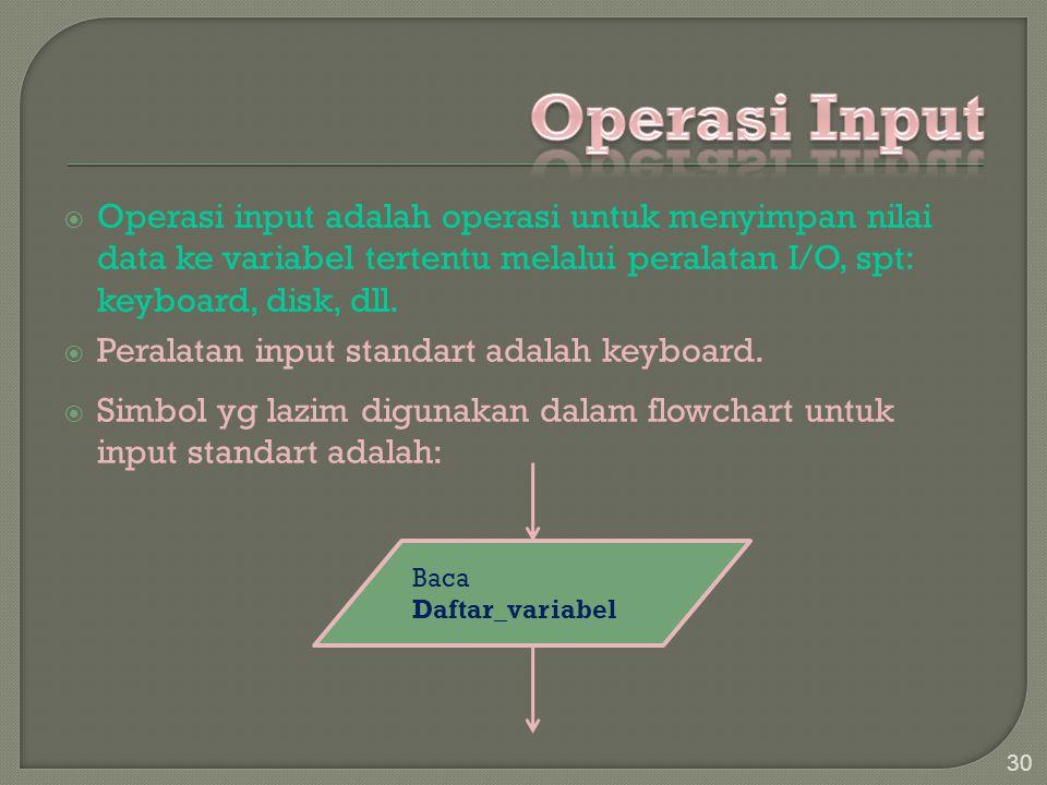  Operasi input adalah operasi untuk menyimpan nilai data ke variabel tertentu melalui peralatan I/O, spt: keyboard, disk, dll.  Peralatan input stan