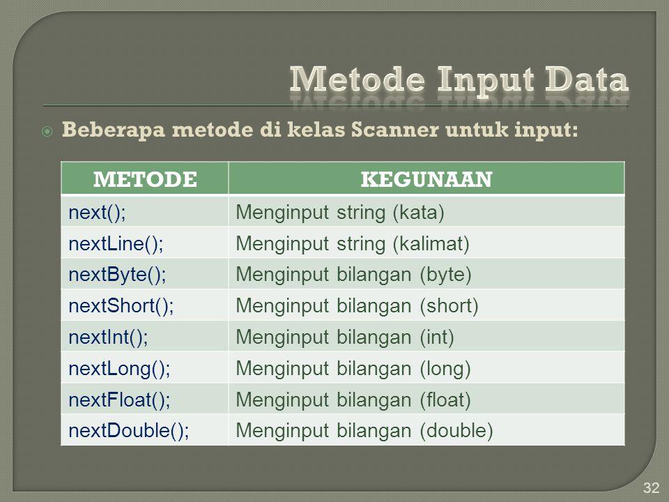  Beberapa metode di kelas Scanner untuk input: 32 METODEKEGUNAAN next();Menginput string (kata) nextLine();Menginput string (kalimat) nextByte();Meng