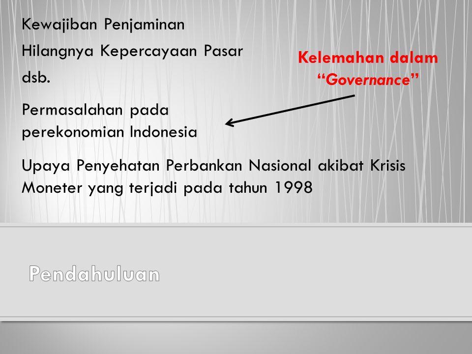 Kewajiban Penjaminan Hilangnya Kepercayaan Pasar dsb. Permasalahan pada perekonomian Indonesia Upaya Penyehatan Perbankan Nasional akibat Krisis Monet
