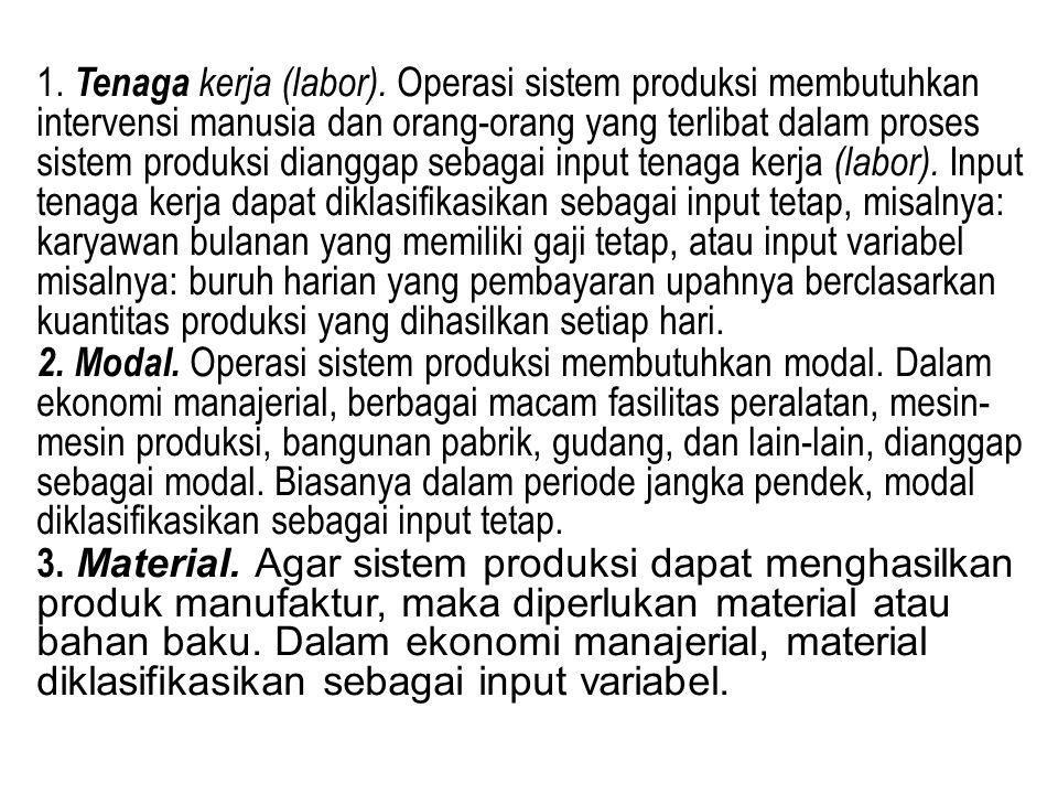 1. Tenaga kerja (labor). Operasi sistem produksi membutuhkan intervensi manusia dan orang-orang yang terlibat dalam proses sistem produksi dianggap se