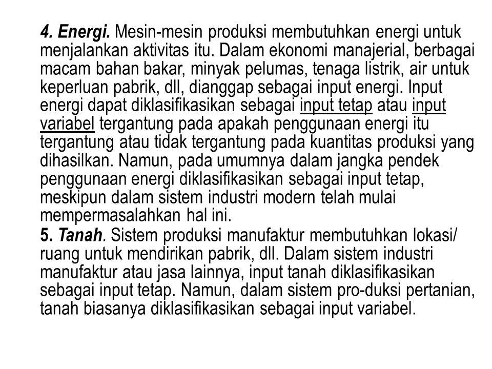 4. Energi. Mesin-mesin produksi membutuhkan energi untuk menjalankan aktivitas itu. Dalam ekonomi manajerial, berbagai macam bahan bakar, minyak pelum