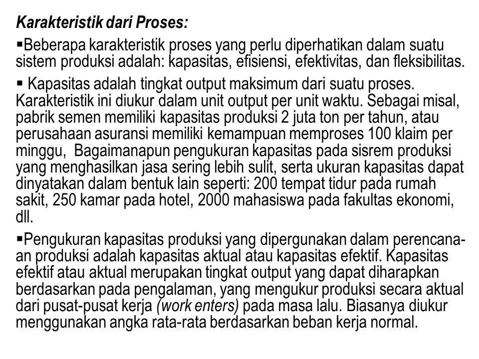 Karakteristik dari Proses:  Beberapa karakteristik proses yang perlu diperhatikan dalam suatu sistem produksi adalah: kapasitas, efisiensi, efektivit