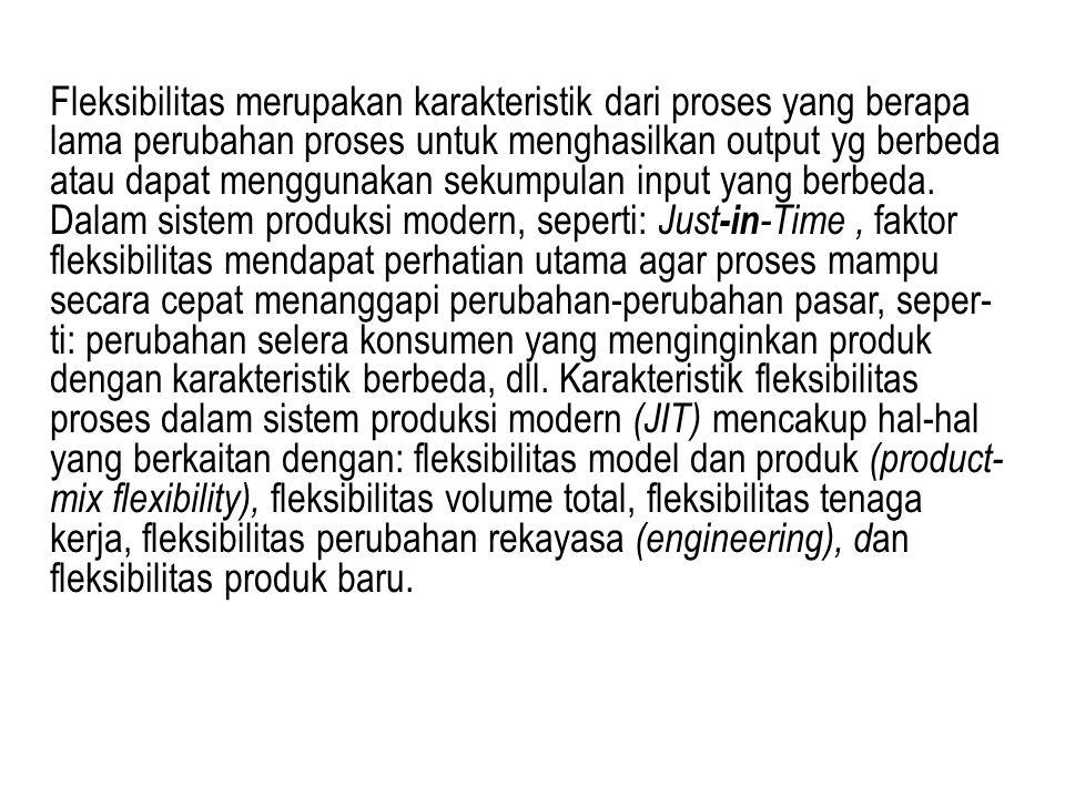 Fleksibilitas merupakan karakteristik dari proses yang berapa lama perubahan proses untuk menghasilkan output yg berbeda atau dapat menggunakan sekump