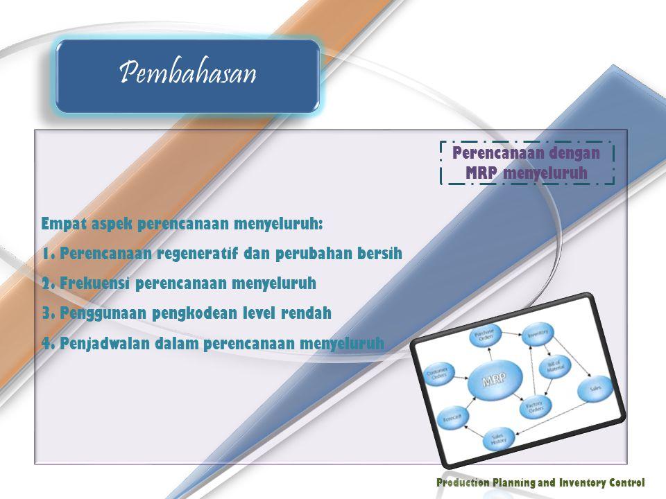 Empat aspek perencanaan menyeluruh: 1. Perencanaan regeneratif dan perubahan bersih 2. Frekuensi perencanaan menyeluruh 3. Penggunaan pengkodean level
