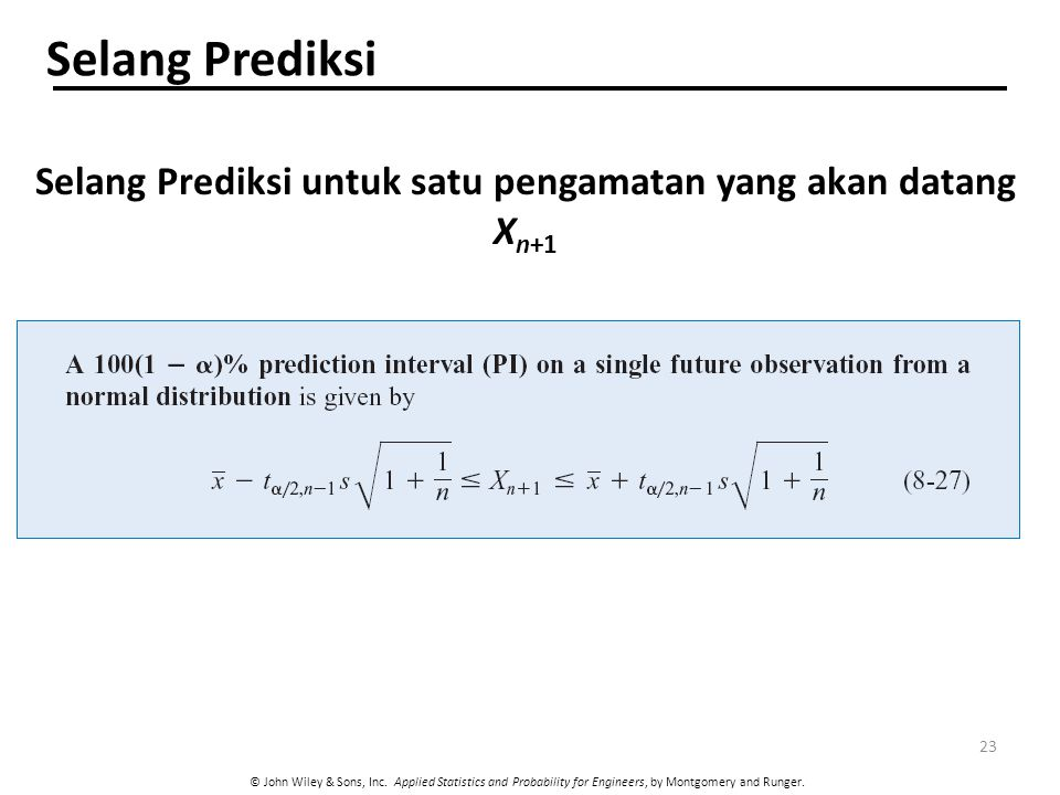 © John Wiley & Sons, Inc. Applied Statistics and Probability for Engineers, by Montgomery and Runger. Selang Prediksi untuk satu pengamatan yang akan