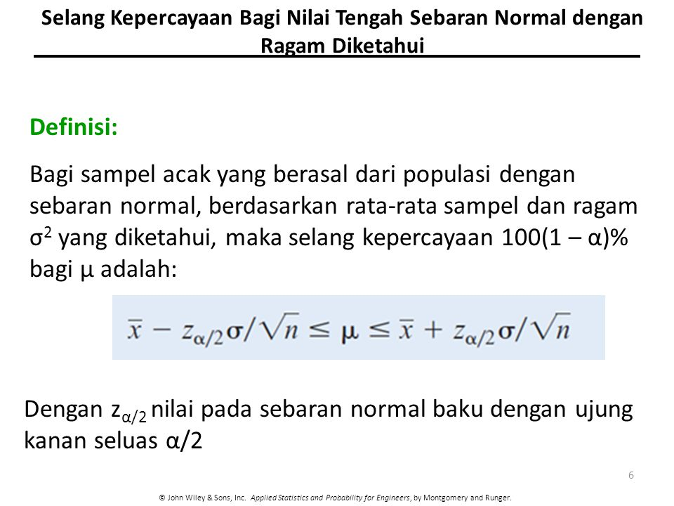© John Wiley & Sons, Inc. Applied Statistics and Probability for Engineers, by Montgomery and Runger. Definisi: Bagi sampel acak yang berasal dari pop