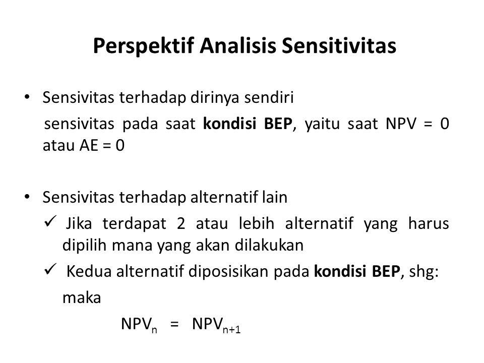 Sensivitas terhadap dirinya sendiri sensivitas pada saat kondisi BEP, yaitu saat NPV = 0 atau AE = 0 Sensivitas terhadap alternatif lain Jika terdapat