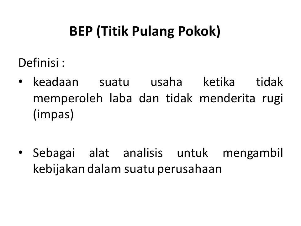 BEP (Titik Pulang Pokok) Definisi : keadaan suatu usaha ketika tidak memperoleh laba dan tidak menderita rugi (impas) Sebagai alat analisis untuk meng
