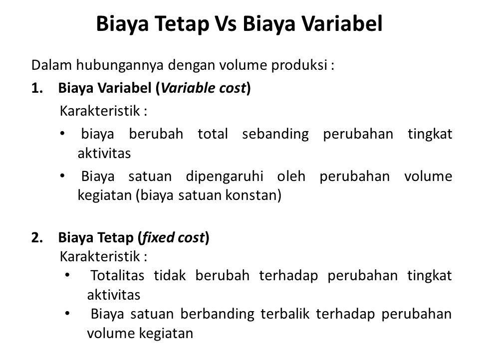 Biaya Tetap Vs Biaya Variabel Dalam hubungannya dengan volume produksi : 1.Biaya Variabel (Variable cost) Karakteristik : biaya berubah total sebandin