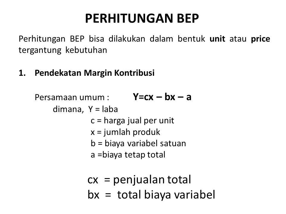 Perhitungan BEP bisa dilakukan dalam bentuk unit atau price tergantung kebutuhan 1.Pendekatan Margin Kontribusi Persamaan umum : Y=cx – bx – a dimana,
