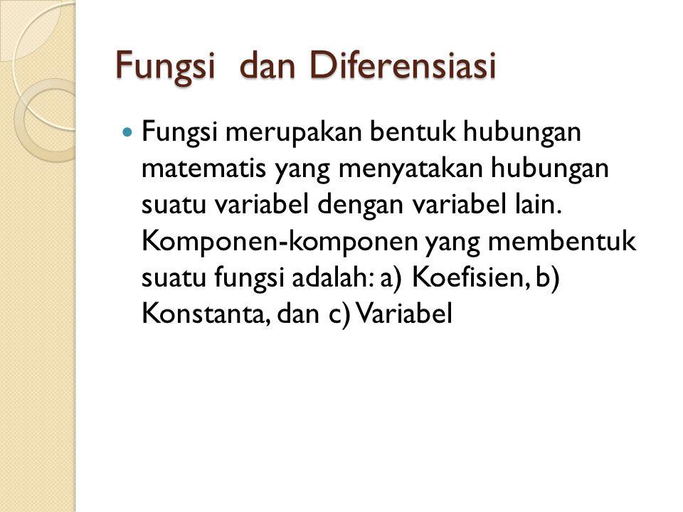Fungsi dan Diferensiasi Fungsi merupakan bentuk hubungan matematis yang menyatakan hubungan suatu variabel dengan variabel lain.
